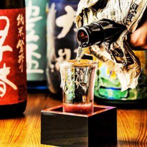 名古屋の金シャチ横丁 天ぷら天丼専門店「徳川忠兵衛」日本酒1